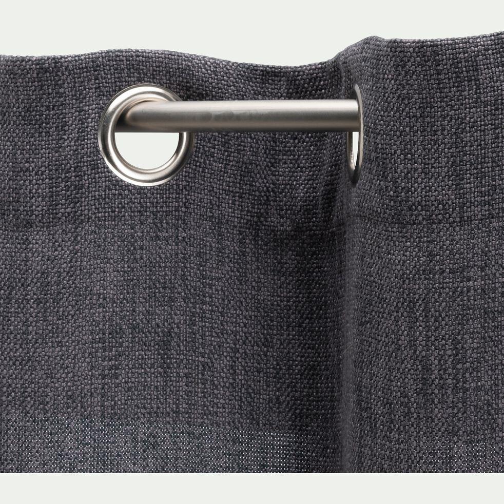 Rideau à œillets en polyester - gris anthracite 140x250cm-CADOLIVE