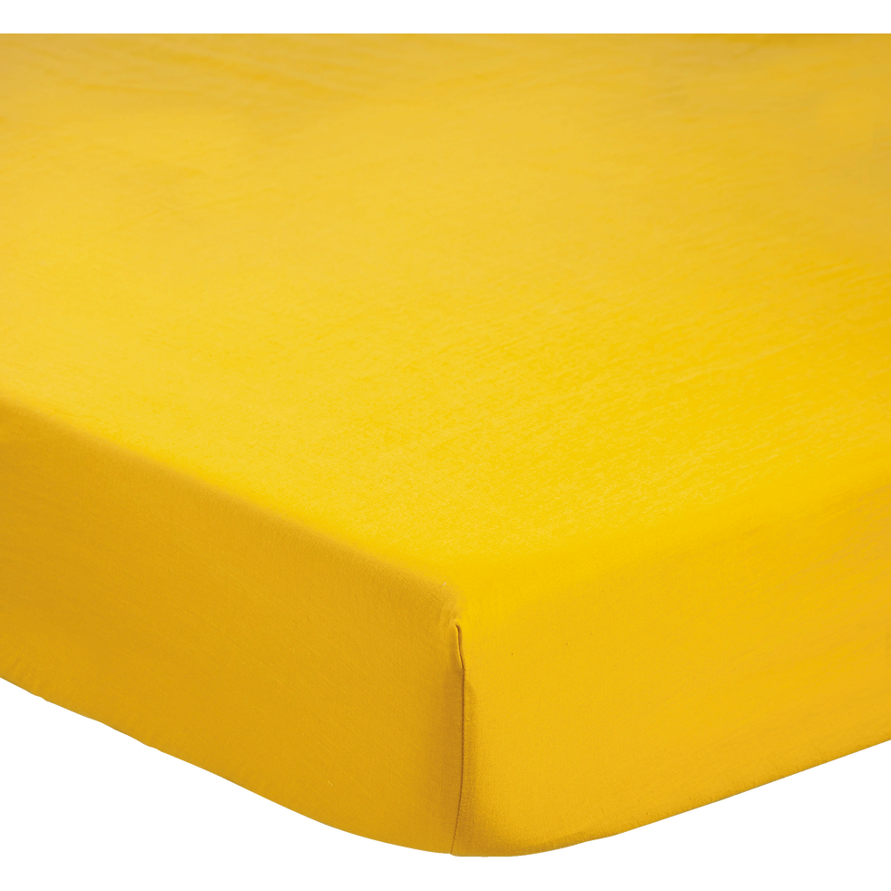 Drap housse en lin Jaune - 140x200 cm-LINKO