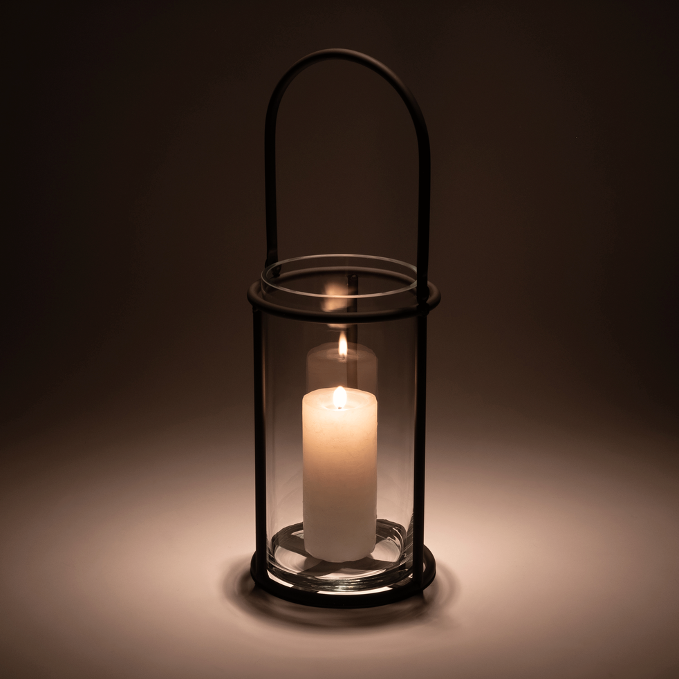 Lanterne en métal gris anthracite H50xD18cm-Moustelle
