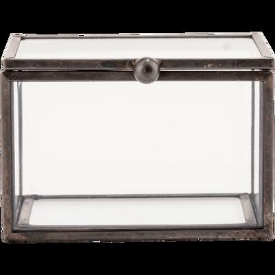 Boîte de rangement en verre noire 8X6X5cm-ASTER