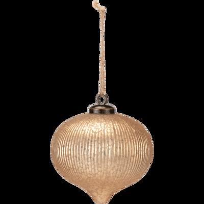 Boule de Noël en verre doré D10cm-ASSELA