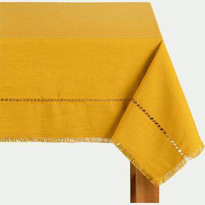 Nappe en lin et coton jaune 170x250cm-MANGUE
