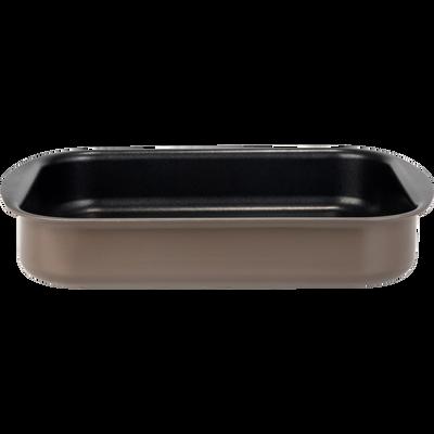 Plat à four rectangulaire en aluminium brun ombre 20x25cm-PINTO