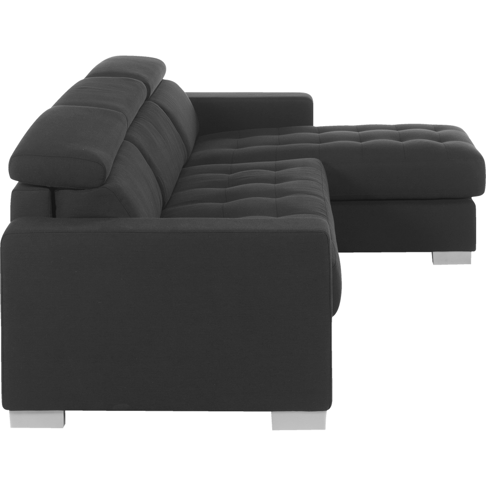 Canapé d'angle réversible convertible en tissu gris foncé-MAURO