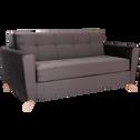 Canapé 3 places convertible en velours gris-VICKY