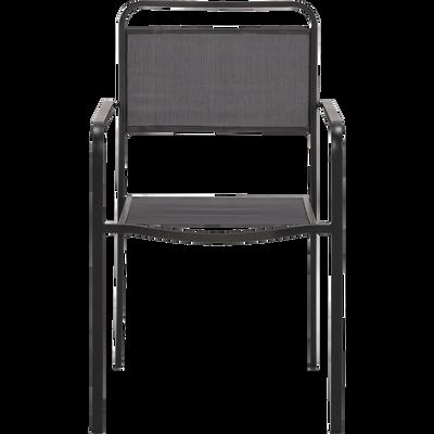 Fauteuil de jardin empilable gris anthracite-MATEO