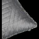 Coussin en velours piqué gris 30x50cm-TILT
