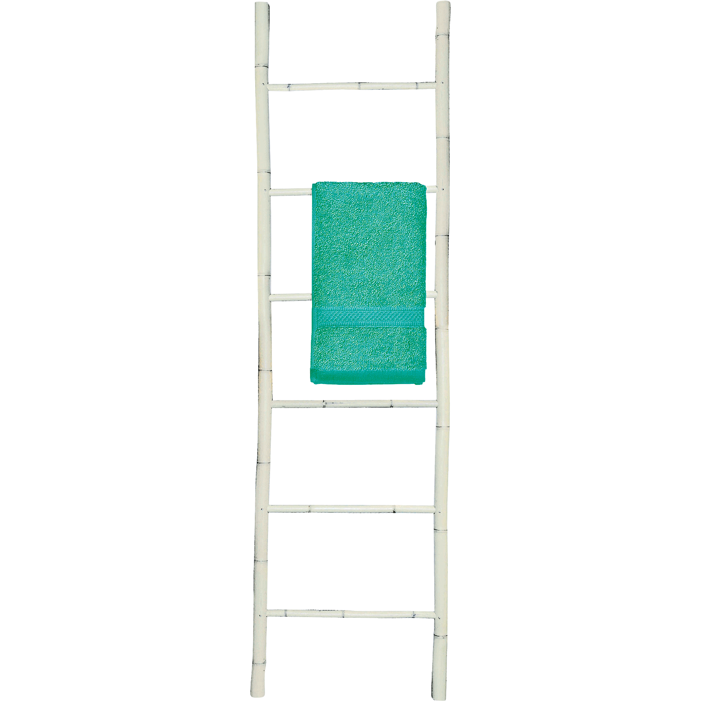 Porte Serviettes échelle En Bambou Blanc H190cm CIRO