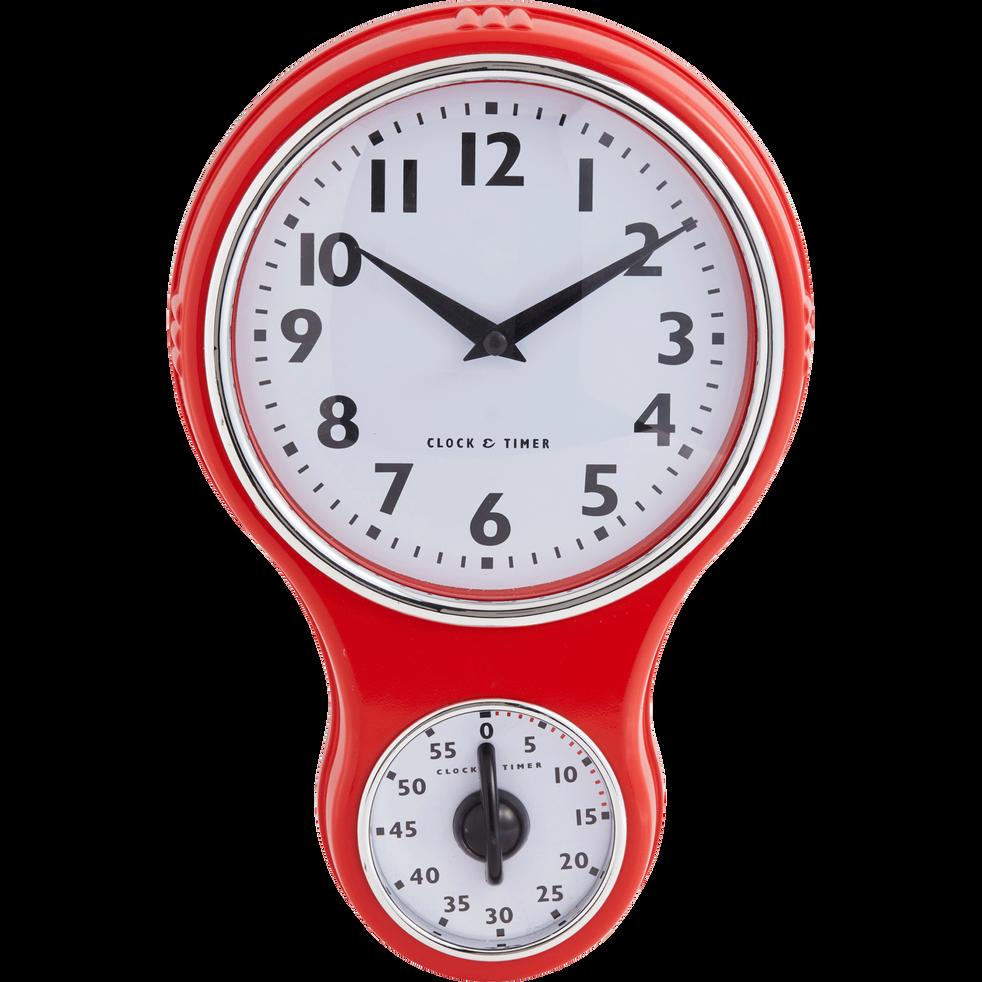 Horloge design rouge horloge rouge cuisine horloge rouge cuisine horloge design cuisine rouge for Horloge murale rouge cuisine