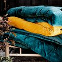 Édredon en velours de coton piquage pompons - bleu 100x180cm-EDEN