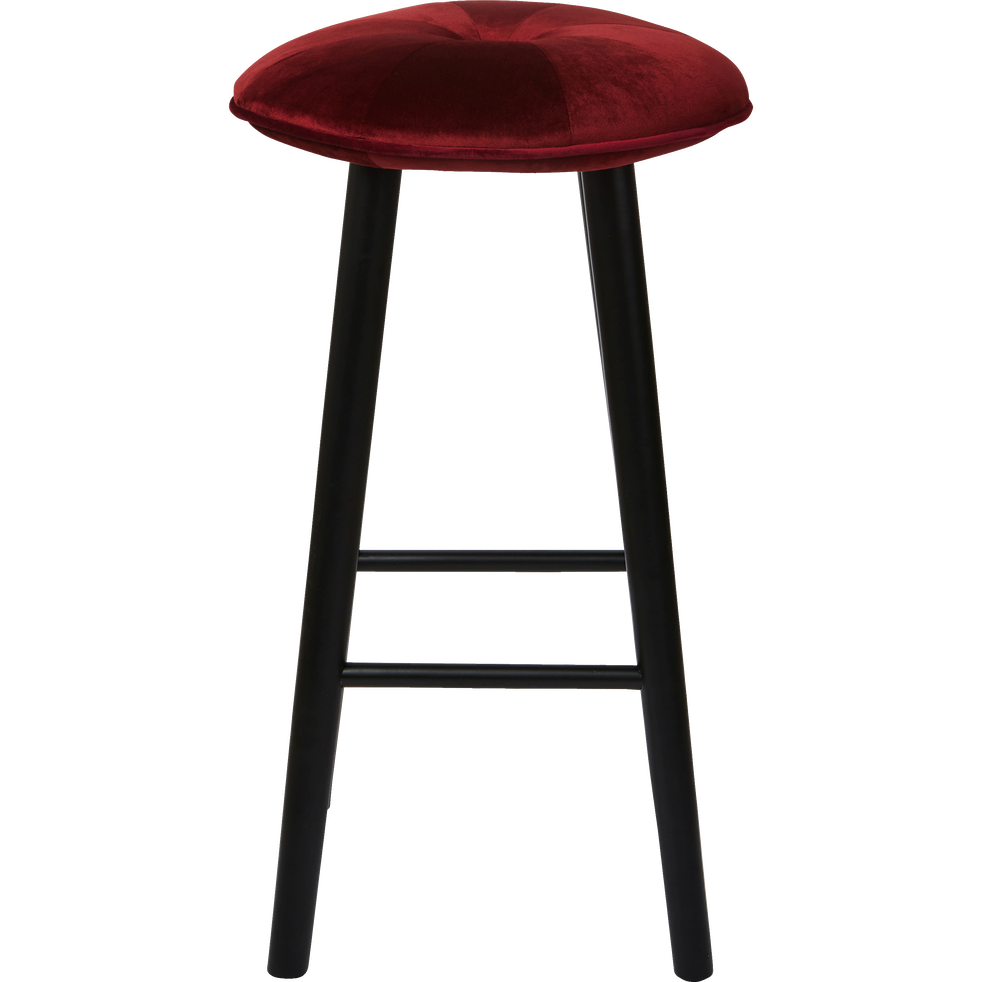 tabouret de bar en velours rouge sumac h75cm augustin. Black Bedroom Furniture Sets. Home Design Ideas