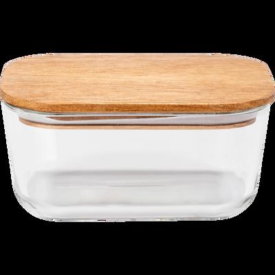 Boîte rectangulaire en verre avec couvercle en bois H6,80cm-SAPAN