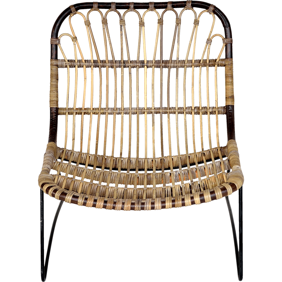 HELOISE - Fauteuil en rotin et métal esprit vintage