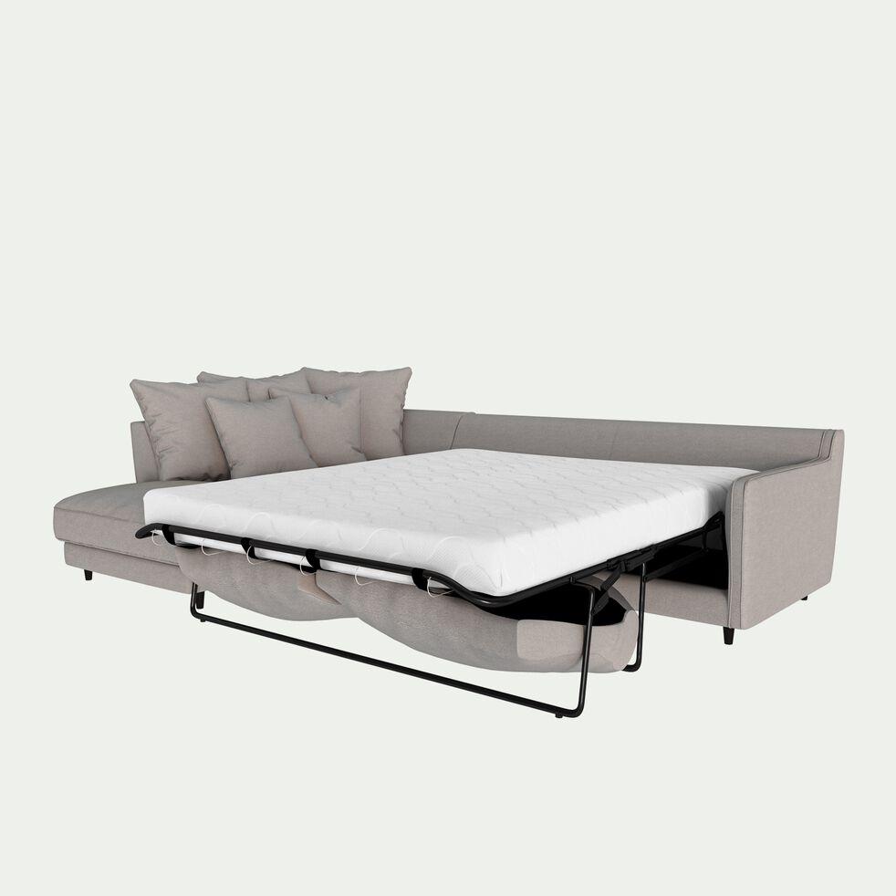 Canapé d'angle gauche convertible 5 places en tissu joint - gris borie-LENITA
