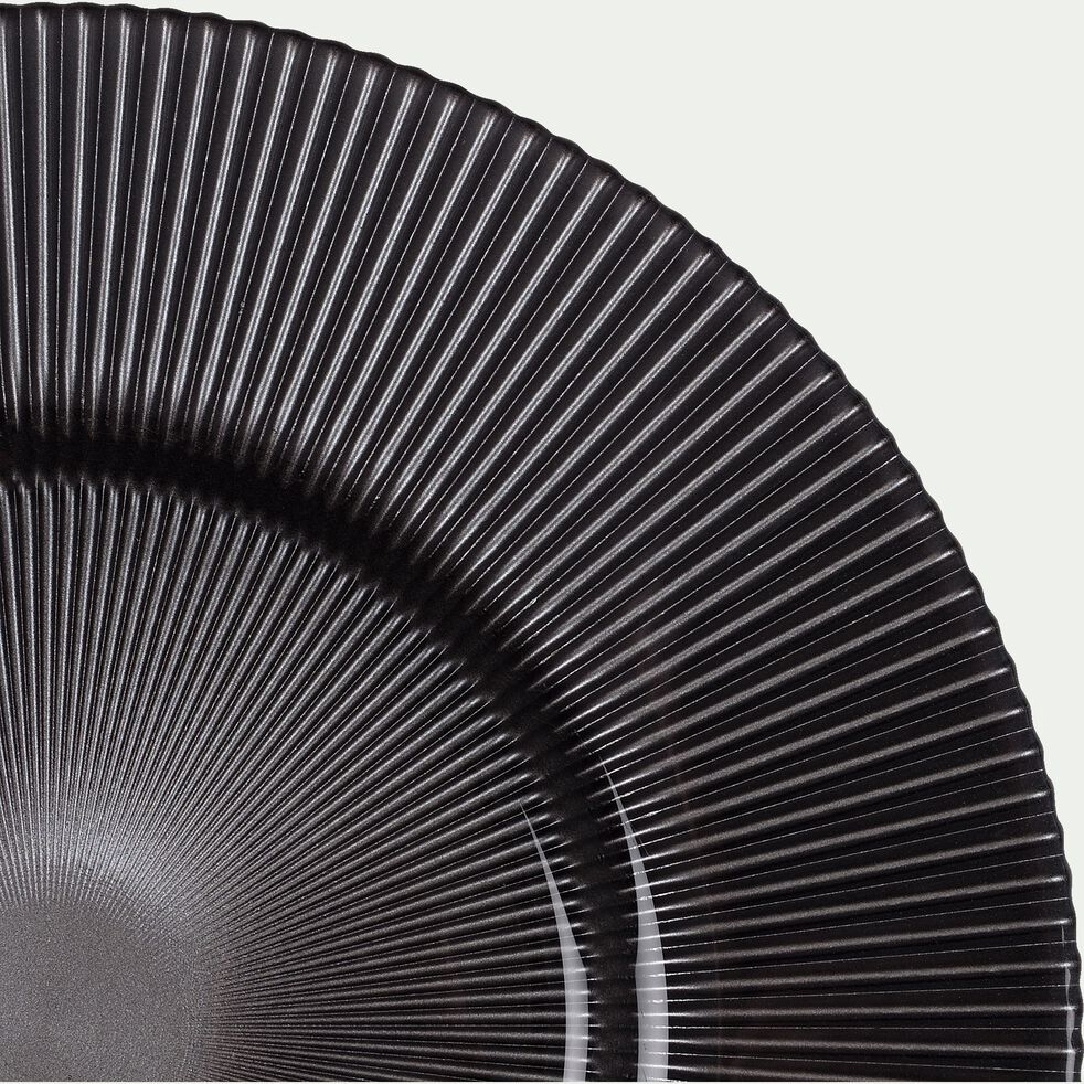 Assiette de présentation en verre strié gris opaque D35cm-SPLENDIDE