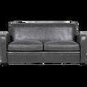Canapé 3 places fixe en croûte de cuir noir-Cuba