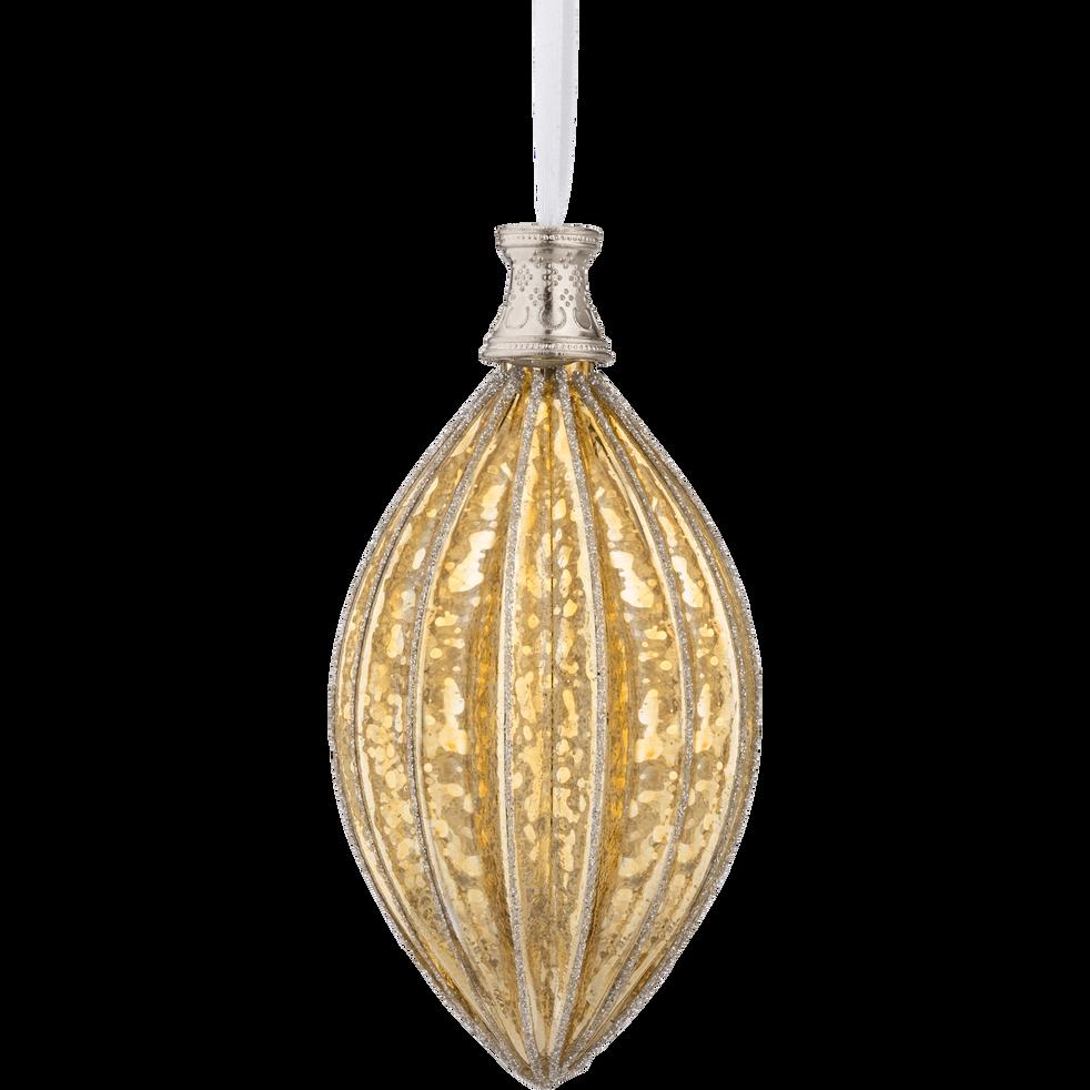 Boule de Noël en verre doré H10,5cm-RAFFAELE