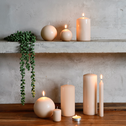 8 bougies flambeaux grège H18cm-HALBA