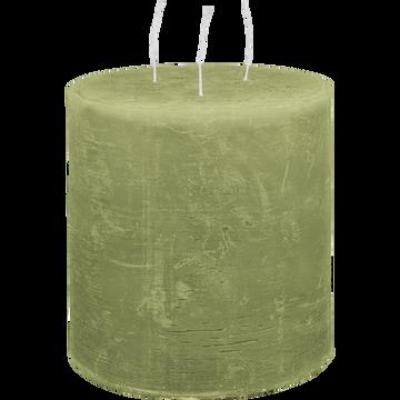 Bougie lanterne vert garrigue D15xH15cm-BEJAIA