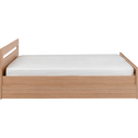 Lit 2 places avec tête de lit effet chêne noisette - 140x200 cm-NATURELA