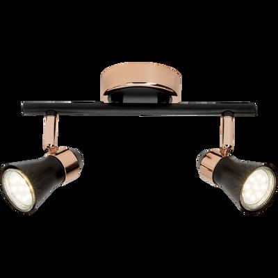 Plafonnier de 2 spots en métal noir et cuivré D31,5cm-JUPP