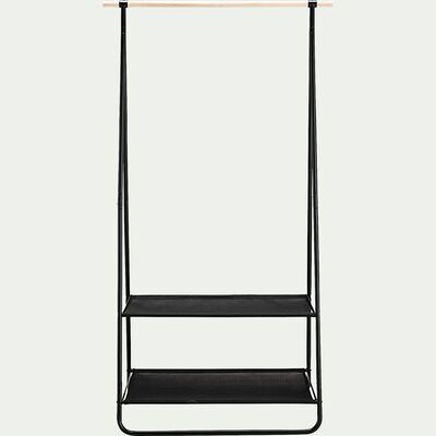 Penderie ouverte à 2 étagères en métal et bois - noir-DAVEN