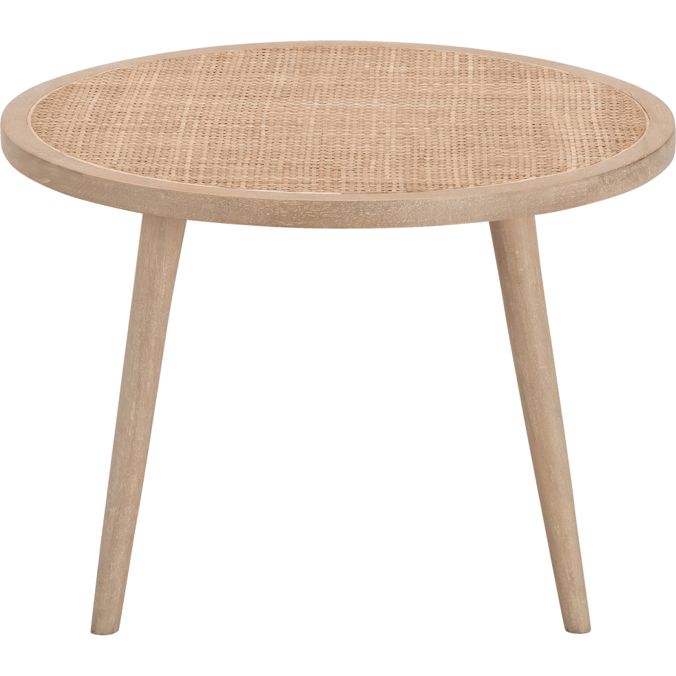 Table basse ronde en manguier et cannage en rotin ecueil tables basses alinea - Table basse en manguier ...