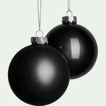 Lot de boules en verre noires 4 pièces D10cm-Lugarda