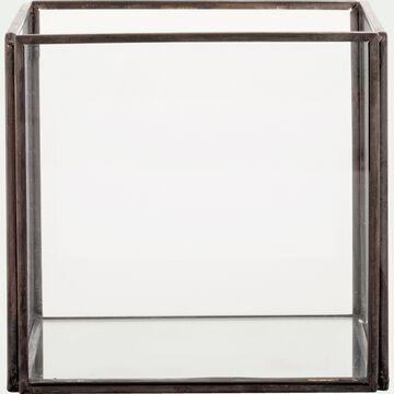 Boîte décorative en verre et fer - noir L12xl12xH11cm-ASTER
