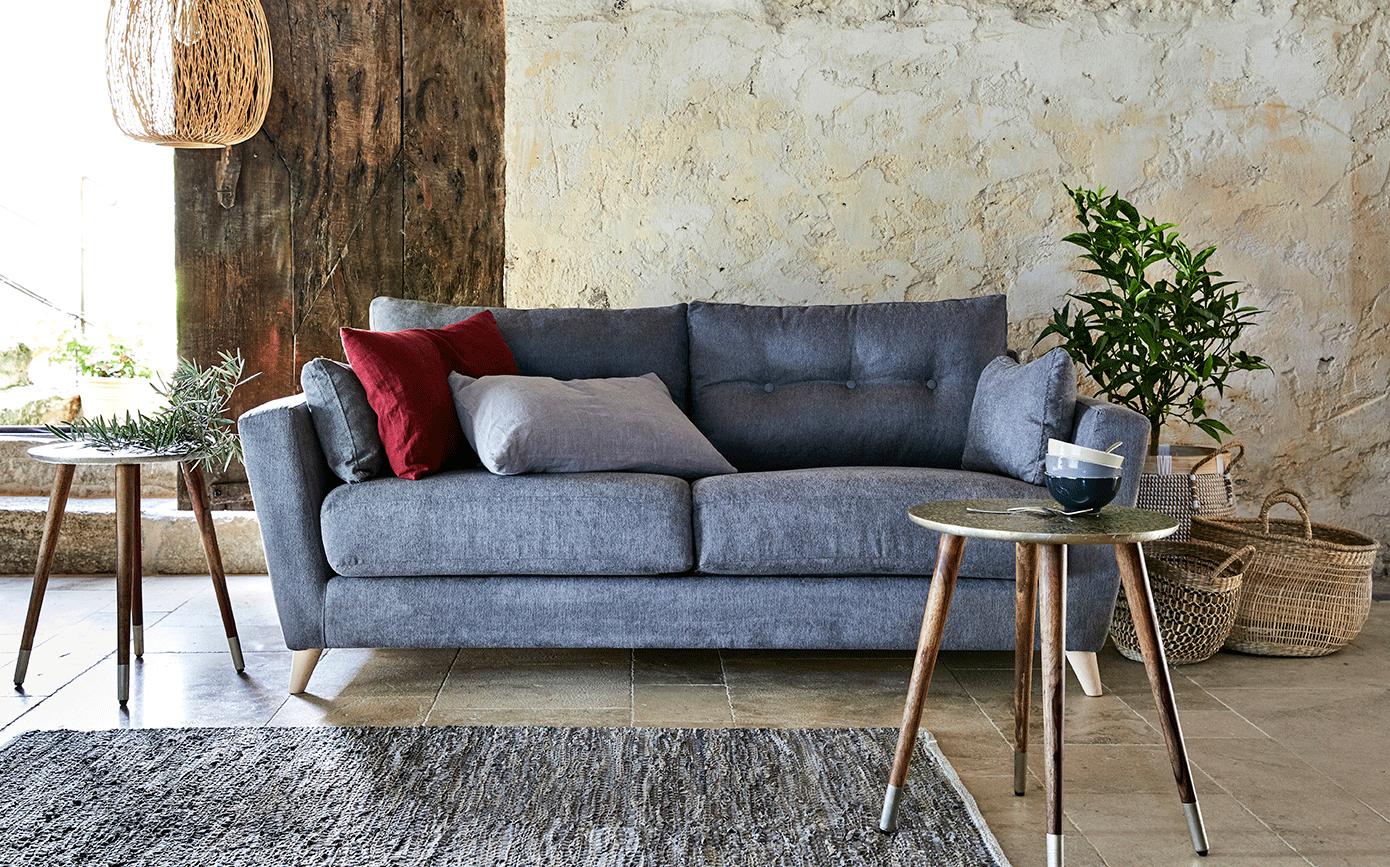 Bout de canapé rond effet métal motif amande-LEZ