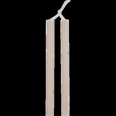 Bougie duo de flambeaux rose grège D2xH30cm-BEJAIA