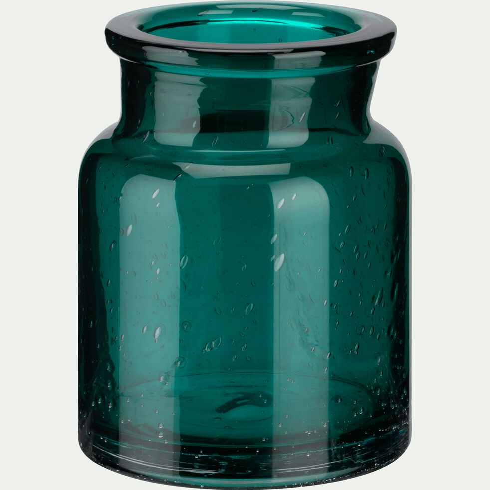 Vase en verre bullé - bleu H13cm-IKARIA