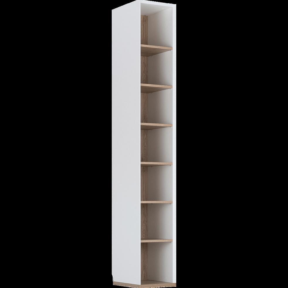 Bibliothèque de dressing effet chêne - blanc-NESTOR