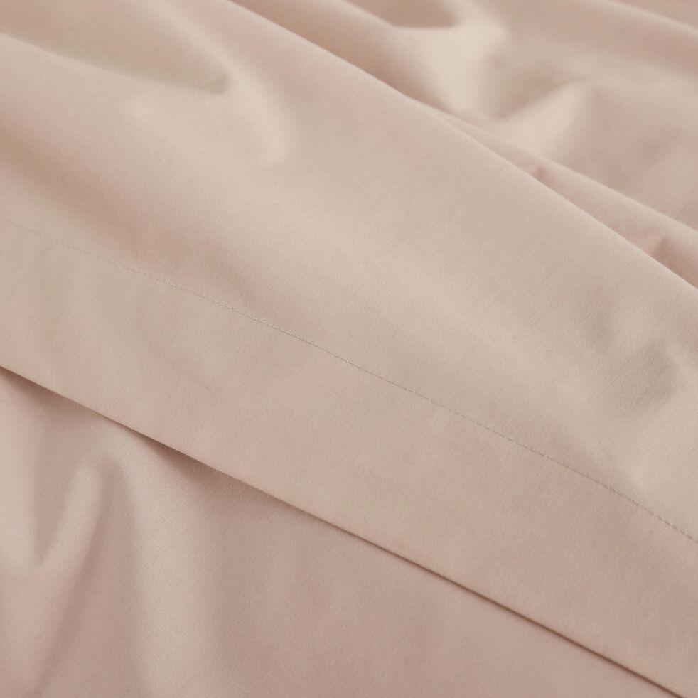 Housse de couette unie en percale rose argile-FLORE