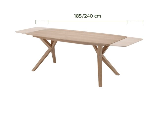 Table de repas extensible plaquée chêne - 8 à 10 places-LEONIE
