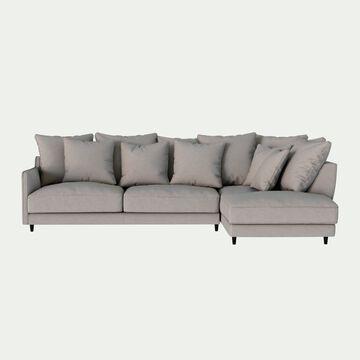 Canapé d'angle droit fixe en tissu joint - gris borie-LENITA