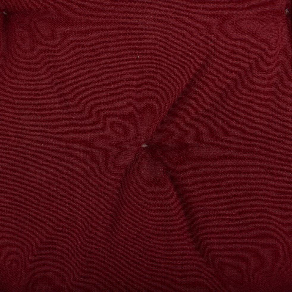 Galette de chaise carrée en coton - rouge sumac 40x40cm-CALANQUES