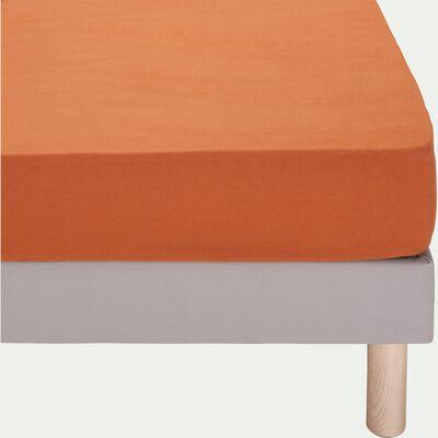 Drap housse en lin - brun rustrel 160x200cm b28-VENCE