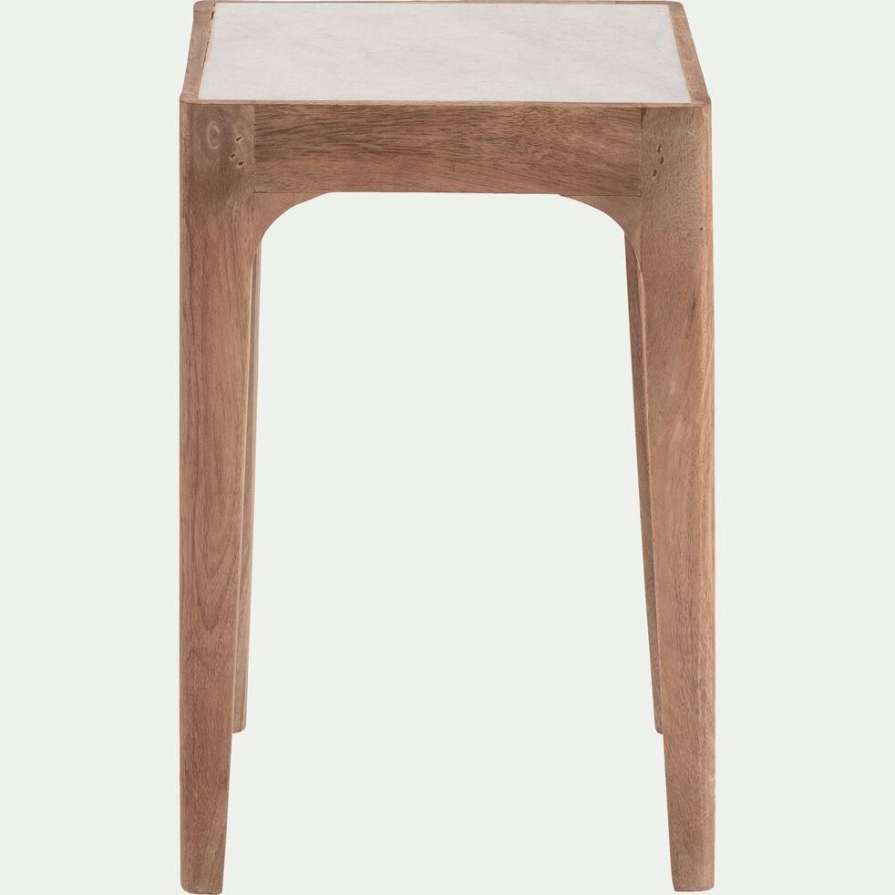 Bout de canapé carré en manguier et marbre-MÉJEAN