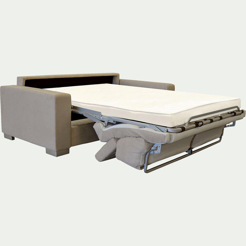 Canapé 3 places convertible en microfibre - noisette-MAURO