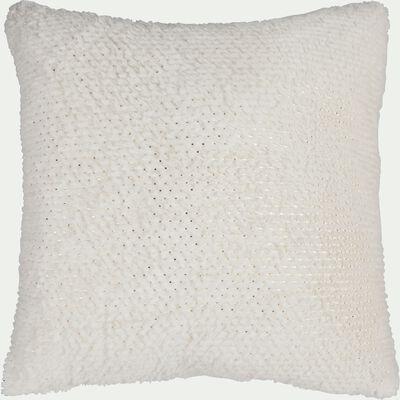 Coussin imitation fourrure à pois en polyester - blanc et doré 50x50cm-DOLLY