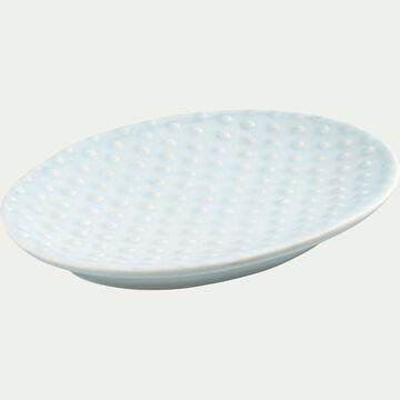 Porte savon en céramique relief - bleu amandier-NARCISSE