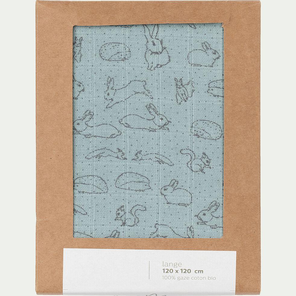 Lange bébé en coton bio 120x120cm à motif bestiaire - bleu calaluna-Bestiaire