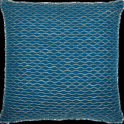 Coussin en coton bleu figuerolles 45x45cm-JAFAR