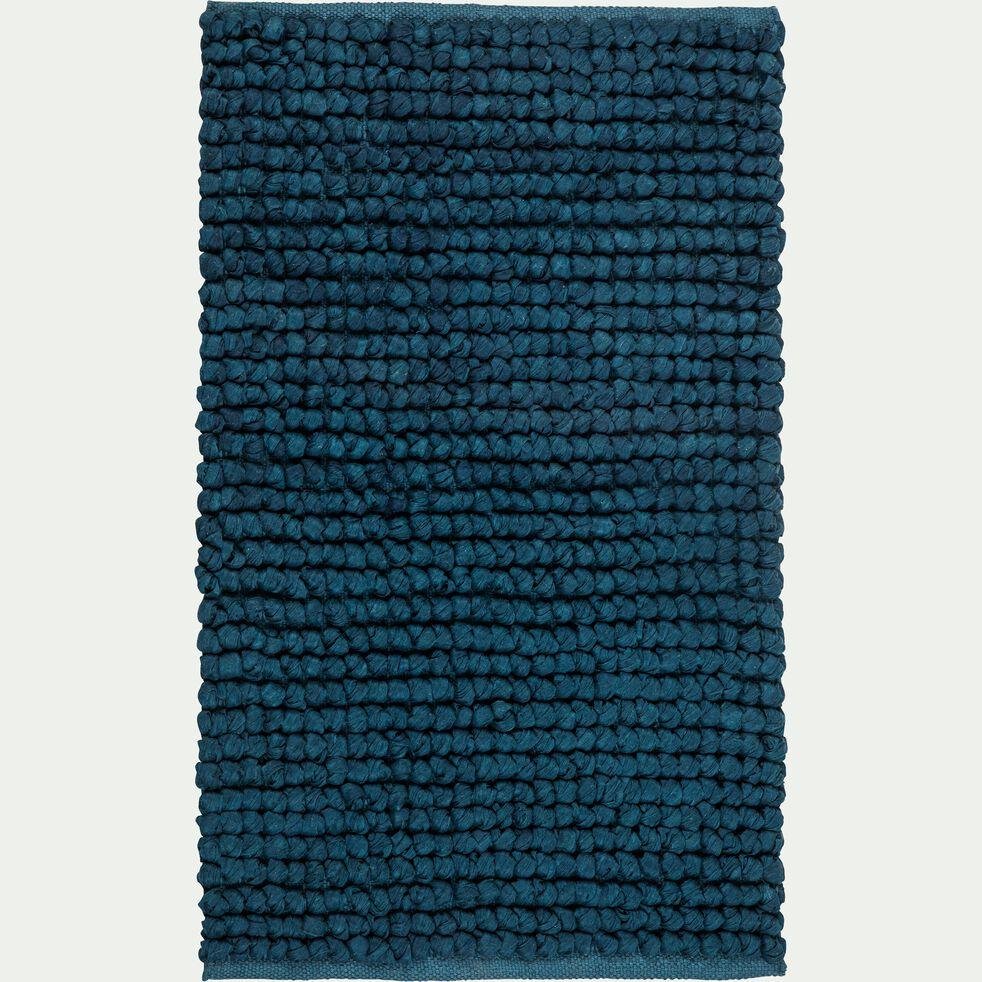 Tapis de bain en coton et polyester recyclés - bleu figuerolles 50x80cm-JAN