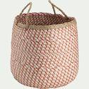 Panier tressé en jonc de mer et papier - rose D40xH40cm-Lola
