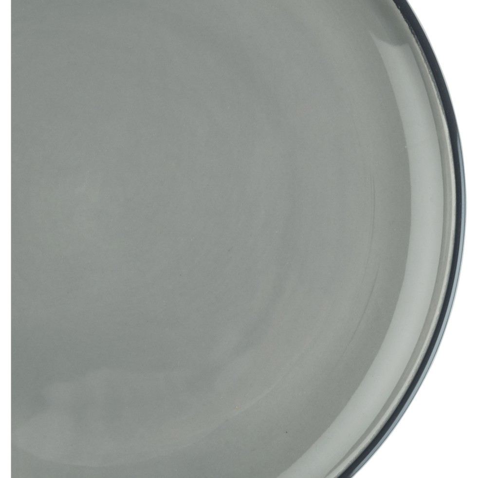 Assiette creuse en faïence gris restanque D16cm-LANKA