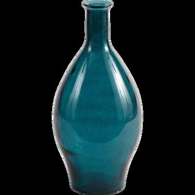 Vase en verre recyclé bleu H60cm-KYARA