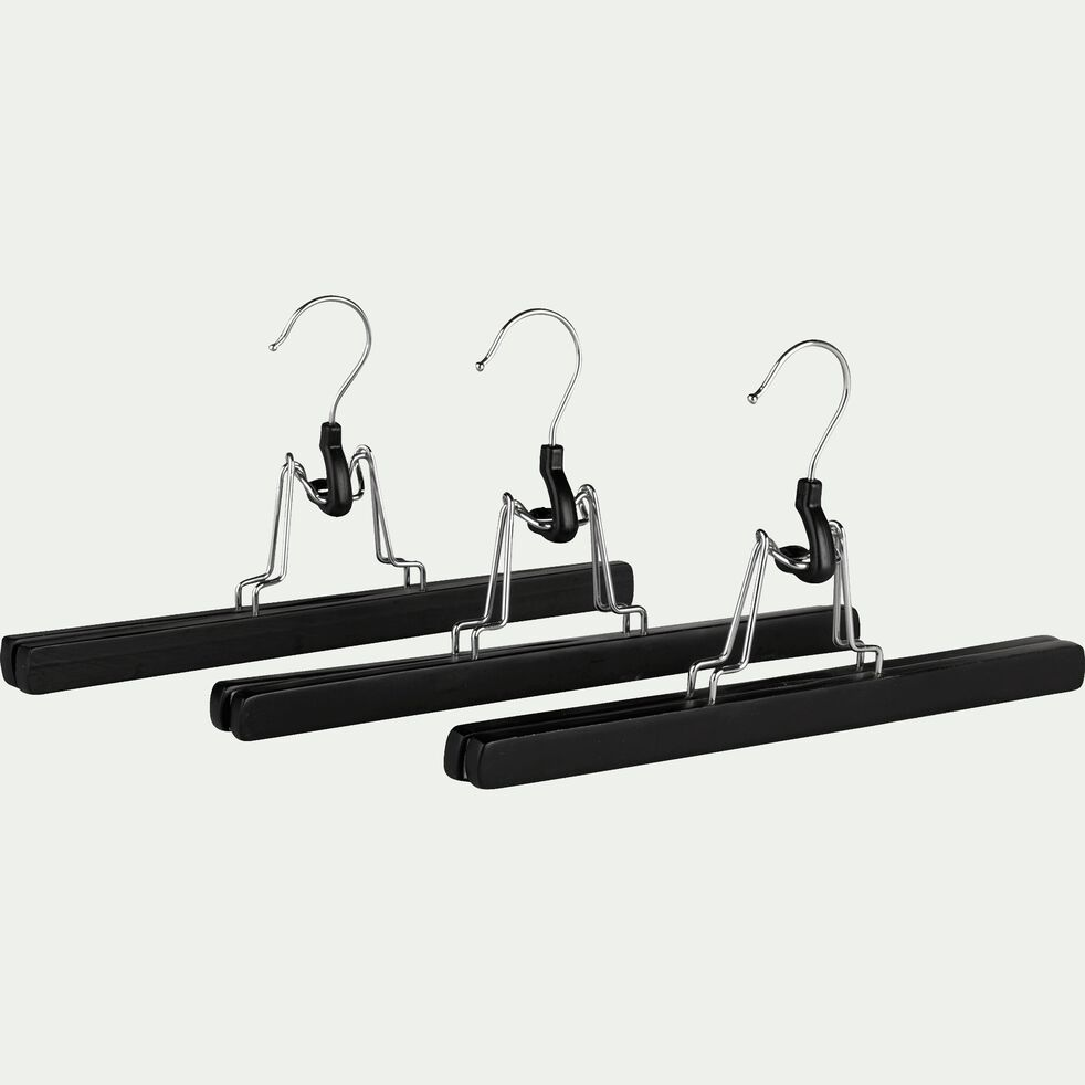 Lot de 3 cintres porte pantalon en bois de schima - noir-Karl