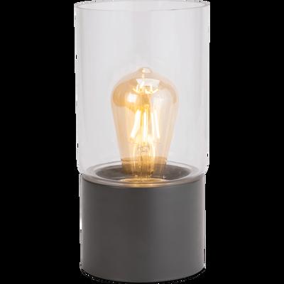 Lampe à poser en métal gris restanque H24,5cm-MANUE